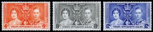 Straits Settlements Scott 235-237 (1937) Mint NH VF Complete Set, CV $6.00 C