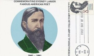 1416 8c SIDNEY LANIER - Int'l Stamp Collectors Society Maxicard
