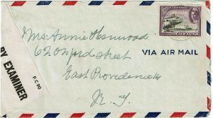 Curacao 1944 St. Eustatius cancel on airmail cover to U.S., St. Kitts censor