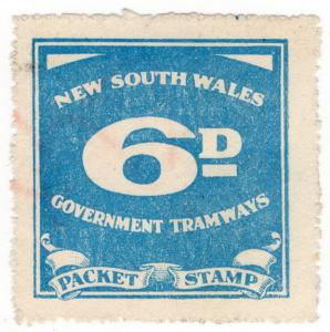 (I.B) Australia - NSW Government Tramways : Parcel Stamp 6d