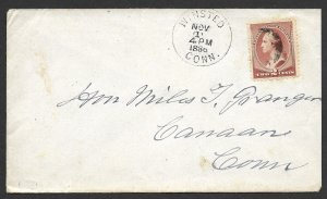 Doyle's_Stamps: Winsted, CONN, 1886 State Postal History w/Crisp CDS