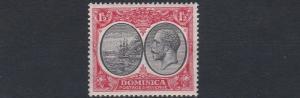 DOMINICA  1923 - 33   S G  74    1 1/2D   BLACK  & SCARLET    MH