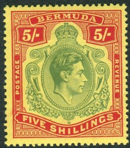 BERMUDA-1938-53 5/- Green & Red/Yellow.  A mounted mint example Sg 118