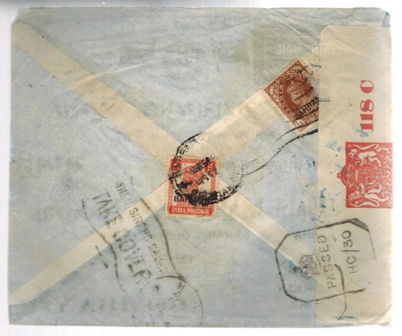 1942 Bahrain Censored airmail Commercial cover to Bombay India via BOAC