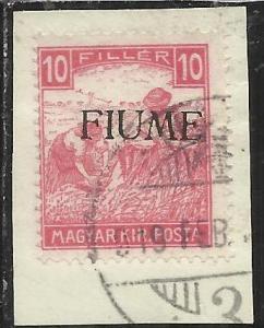 FIUME 1918 1919 MIETITORI E VEDUTA 10 F CIFRE BIANCHE 1917 WHITE NUMERAL TIMB...