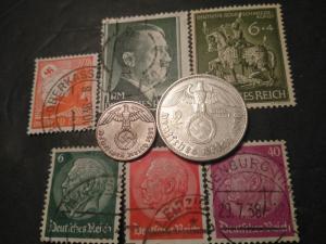 Silver 1938-A 1937 German third Reich Nazi 2 mark 1 Pfennig coin stamp lot set