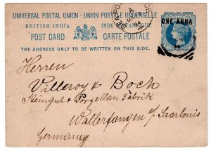 (I.B) India Postal : Downrated Postcard to Germany (Sea Post Service)