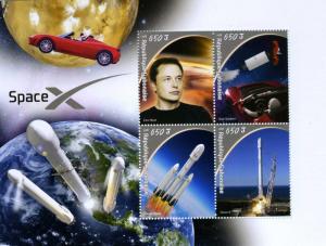GABON 2018 SPACE X Elton Musk Car Tesla Roadster Sheet Perforated mnh.vf