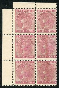 PRINCE EDWARD Is SG45/a 1872 3c rose perf 12.5-13 2 x stop between PRINCE EDWARD