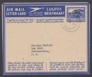 South West Africa H&G F-I18, used 1946 Aerogramme of South Africa with ovpt