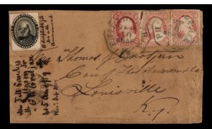 USA #15L18 Used With Three Copies Of 3cent 1857 On Triple Rate Cover To KY
