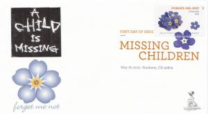 Missing Children First Day Cover, w/ DCP cancel, #1 of 2