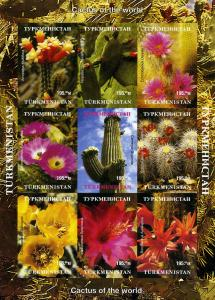 Turkmenistan 1998 Cactus of the World Sheet (9) Imperforated Mint (NH)