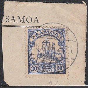 SAMOA - GERMAN PO 1902 20pf on piece - Apia cds.............................F639
