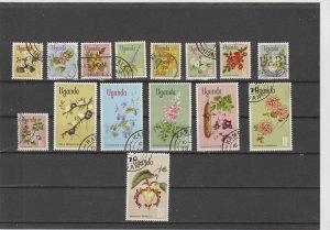 Uganda  Scott#  115-129  Used  (1969 Flowers)