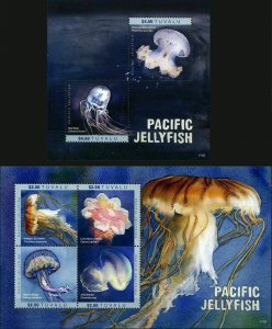 Tuvalu 2017 fauna marine life fish jellyfish klb+s/s MNH