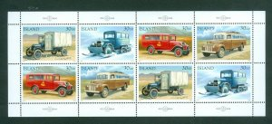 Iceland. 1992 Booklet Panel  8 x 30.00 Kr. Mnh.  Mail Auto Transport. Sc# 756-59