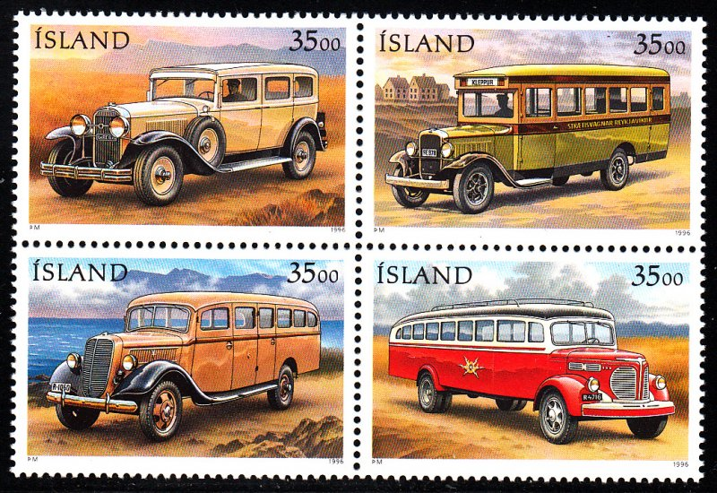 Iceland MNH Block 820-3 Mail Trucks SCV 5.00
