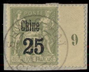 FRANCE OFFICES IN CHINA #13, 25c on 1fr, used on small piece, VF, Scott $75.00