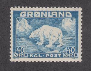 Greenland Sc 8 MNH. 1946 40o blue Polar Bear, key stamp to set almost VF