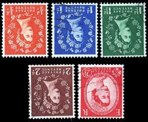GB - QE2 - 1953/4 SG515Wi, 516Wi, 517Wi, 518Wi & 519Wi watermark inverted - VFU