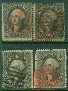 EDW1949SELL : USA 1857 Scott #36. 4 stamps. Used with Red cancels. Cat $1,480.00