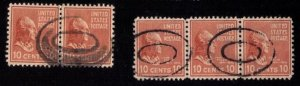 US Sc 815 Used 10c Vert. Pair & Vert. Strip Of Three F-VF