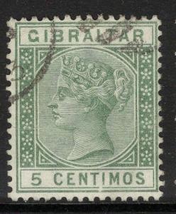 GIBRALTAR SG22 1889 5c GREEN FINE USED