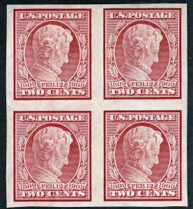 US Sc 368 Carmine 2¢ Imperf Blk of Four Original Gum Hinged/NH VF