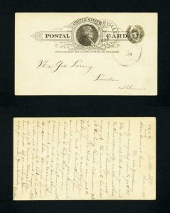 Post Card from Jacksonville, Illinois to Lowder, Illinois dated 12-7-1887