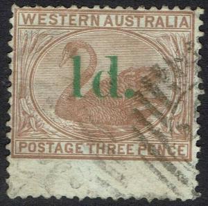 WESTERN AUSTRALIA 1885 SWAN 1D ON 3D STRAIGHT TOP USED