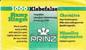 1 UNOPENED PACK OF PRINZ STAMP HINGES 1000 FOLDED LOWEST PRICES ON EBAY***