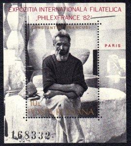 Romania 1982 Constantin Brancusi Mint MNH Miniature Sheet SC 3070