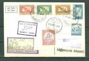 HUNGARY 1925  BUDAPEST-SZEGED AIR MAIL CARD...MULTI FRANKED & VIGNETTE