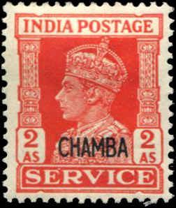 India - Chamba SC# O61 SG# O79 George VI Official 2As MH