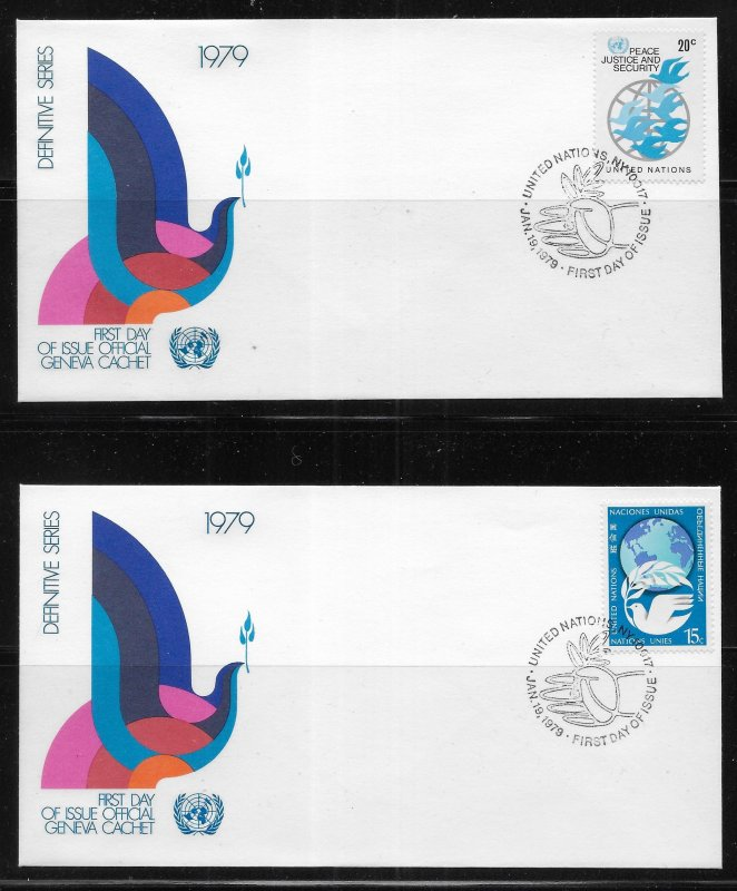 United Nations 304-7 1979 Definitives Geneva Cachet FDC First Day Cover