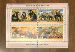1980 Senegal  Fauna sheet very fine MNH Monkey Elephant SC 528