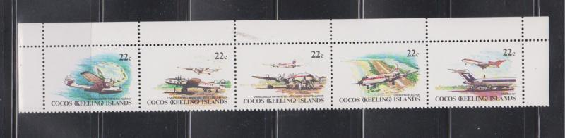 COCOS ISLANDS Scott # 68-72 MNH - Planes Strip Of 5
