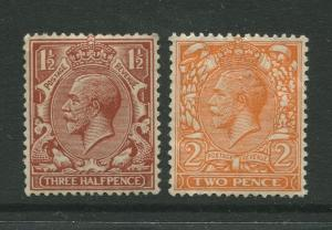 Great Britain #161-162 MVLH 1912 2 Single Stamps