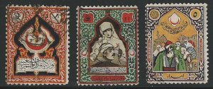 Turkey, 3 Red Cross Issues, used, Circa 1930's