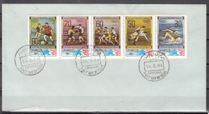 Syria, Scott cat. 1010 A-E. L.A. Olympics issue. First day cover. ^