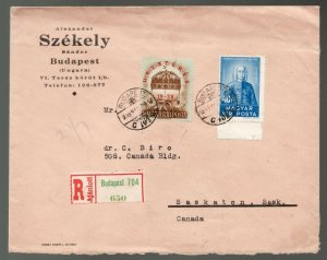 Hungary 1939 Registered commercial cover from Budapest to Saskatoon, Canada -