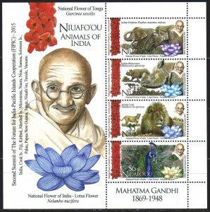 Niuafouou. 2016. bl 67. Fauna, Gandhi. MNH.