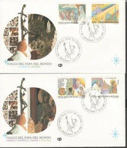 VATICAN POPE JOHN PAUL II VISITS POLAND AUSTRIA CANADA BELIZE 1986 4 FDC R202053