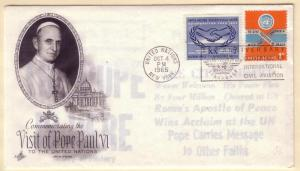 United Nations FDC Sc. # 143 / 146 Pope Paul the 6th  L 70