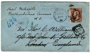(I.B) US Postal Service : Jefferson 10c Cover (Richmond-London 1888)