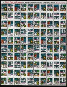 E22571 USA 1973 COMPLETE MNH '12 DAYS OF X-MAS ANTI-TUBERCULOSIS SHEET 0F 100