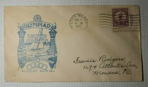 US FDC Sc# 718 LOng Beach CA 1932 Olympiad Water Sports PLATE NUMBER # SINGLE