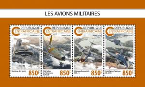 Z08 IMPERF CA18810a CENTRAL AFRICA 2018 Military planes MNH ** Postfrisch