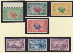 Ethiopia Stamps Scott #C34 To C40, Mint, 1949-54 Air Mails, Two Complete Sets...